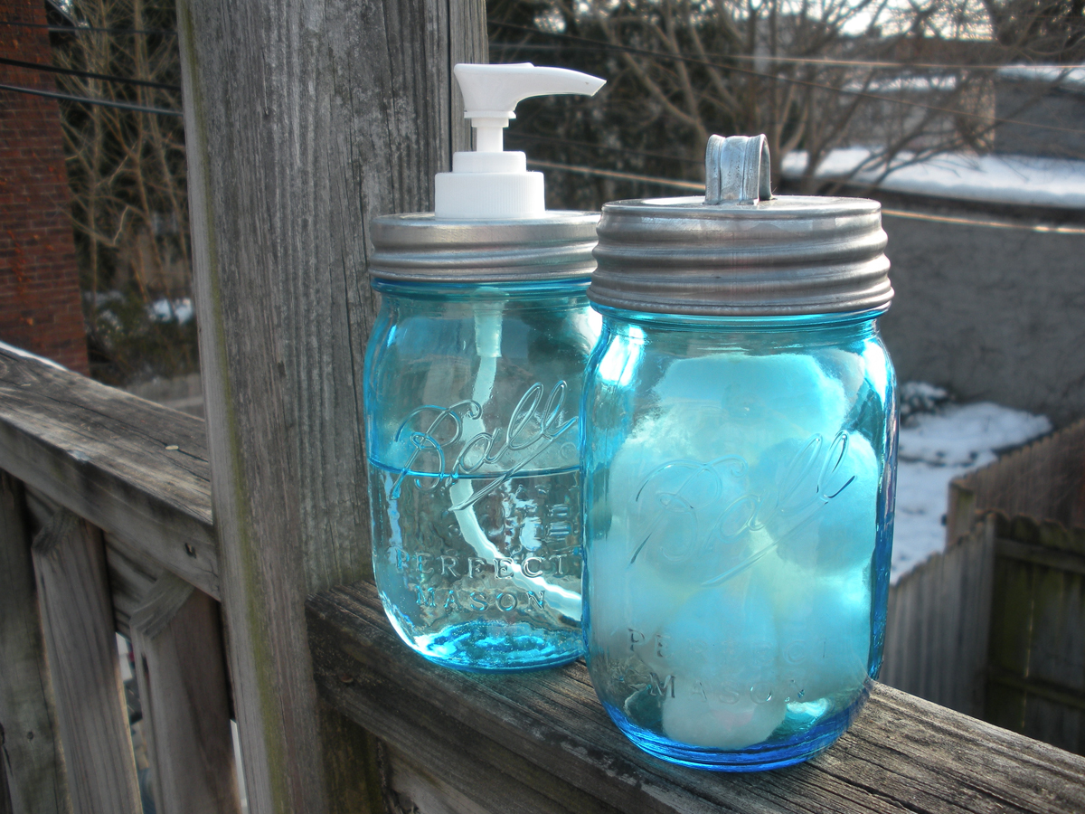 Galvanized Repro Mason Jar Bath Set   Click to Enlarge Photo. Bath Accessories by Little Hippie Girl Soap Company