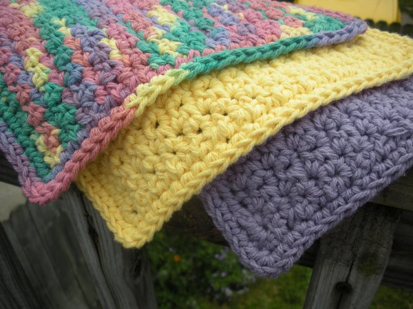 Crochet Cotton Washcloth Set (Fiesta Mix) - Click to Enlarge Photo
